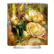Raindrops On Yellow Roses Shower Curtain