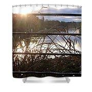 Raindrops To River Sunrise Shower Curtain