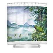 Rainforest Realm - St. Lucia Parrots Shower Curtain