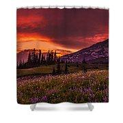 Rainier Fire Mountain Panorama Shower Curtain