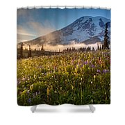 Rainier Golden Sunlit Meadows Shower Curtain