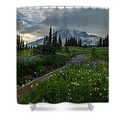 Rainier Meadows Wandering Shower Curtain