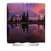 Rainier Soaring Sunrise Reflection Shower Curtain