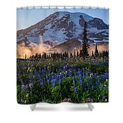 Rainier Wildflower Meadows Pano Shower Curtain