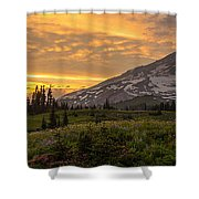 Rainier Wildflowers Meadow Sunset Shower Curtain