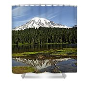 Rainier's Reflection Shower Curtain