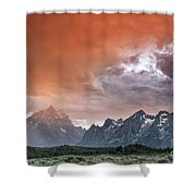 Raining Orange Shower Curtain