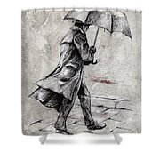 Rainy Day #07 Drawing Shower Curtain by Emerico Imre Toth