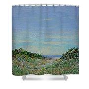 Rainy Day Beach Blues Shower Curtain