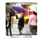 Rainy Day In The City - Blue Pink And Polka Dots Shower Curtain