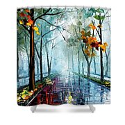Rainy Day - Palette Knife Oil Painting On Canvas By Leonid Afremov Shower Curtain