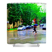 Rainy Days And Mondays Girl Running With The Blue Umbrella Montreal Art City Scenes Carole Spandau Shower Curtain