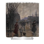 Rainy Evening On Hennepin Avenue Shower Curtain by Robert Koehler