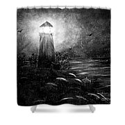 Rainy Night At The Lighthouse Shower Curtain
