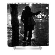 Rainy Night - Hailing A Cab Shower Curtain