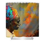 Rajasthani Farmer Rural Indian Turban Shower Curtain