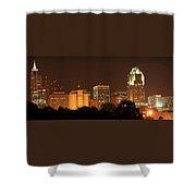 Raleigh Skyline At Night Shower Curtain