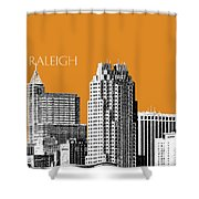 Raleigh Skyline - Dark Orange Shower Curtain