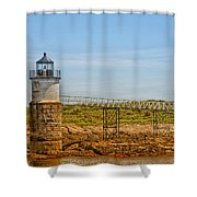 Ram Island Lighthouse Shower Curtain by Karol Livote