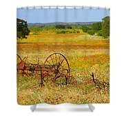 Ranch And Wildflowers And Old Implement 2am-110547 Shower Curtain