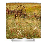 Ranch And Wildflowers And Old Implement 2am-110546 Shower Curtain