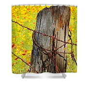 Ranch Wildflowers And Fence 2am-110532 Shower Curtain