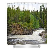 Rancheria Falls Along Alaska Highway In Yk-canada   Shower Curtain
