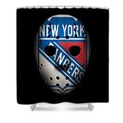 Rangers Goalie Mask Shower Curtain