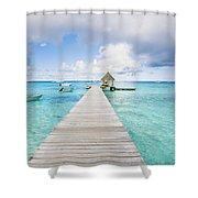 Rangiroa Atoll Pier On The Ocean Shower Curtain