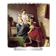 Raphael Adjusting His Model's Pose For His Painting Of The Virgin And Child  Shower Curtain