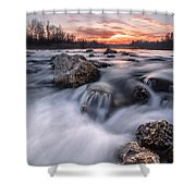 Rapids On Sunset Shower Curtain by Davorin Mance