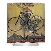 Rare Vintage Paris Cycle Poster Shower Curtain