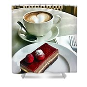 Raspberry Delice And Latte Shower Curtain