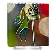 Rat Rod Antenna Skull  Shower Curtain