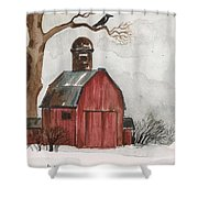 Raven And The Red Barn Shower Curtain