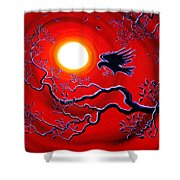 Raven In Ruby Red Shower Curtain