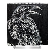 Raven On The Branch - Oil Painting Shower Curtain