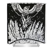 Raven Stealing Fire From The Sun - Woodcut Illustration For Corvidae Shower Curtain