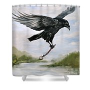 Raven Stealing Time Shower Curtain