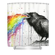 Raven Tastes The Rainbow Shower Curtain
