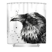 Raven Watercolor Portrait Shower Curtain