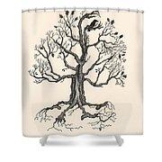 Raven's Magic Oak Shower Curtain