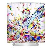 Ravi Shankar - Watercolor Portrait Shower Curtain