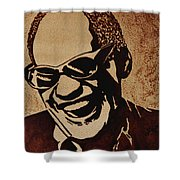 Ray Charles Original Coffee Painting Shower Curtain