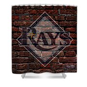 Rays Baseball Graffiti On Brick  Shower Curtain by Movie Poster Prints
