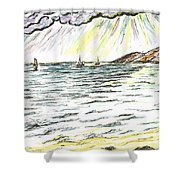 Rays Of Sunshine Between Clouds Shower Curtain