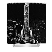 Rca Building At Night In Nyc Shower Curtain