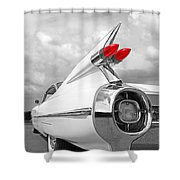 Reach For The Skies - 1959 Cadillac Tail Fins Black And White Shower Curtain