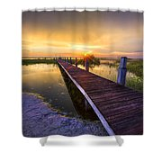 Reaching Into Sunset Shower Curtain