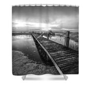 Reaching Into Sunset In Black And White Shower Curtain